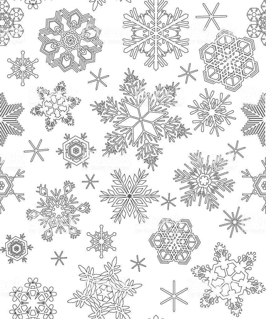 Seamless Pattern With Snowflakes Adult Coloring Snowflake