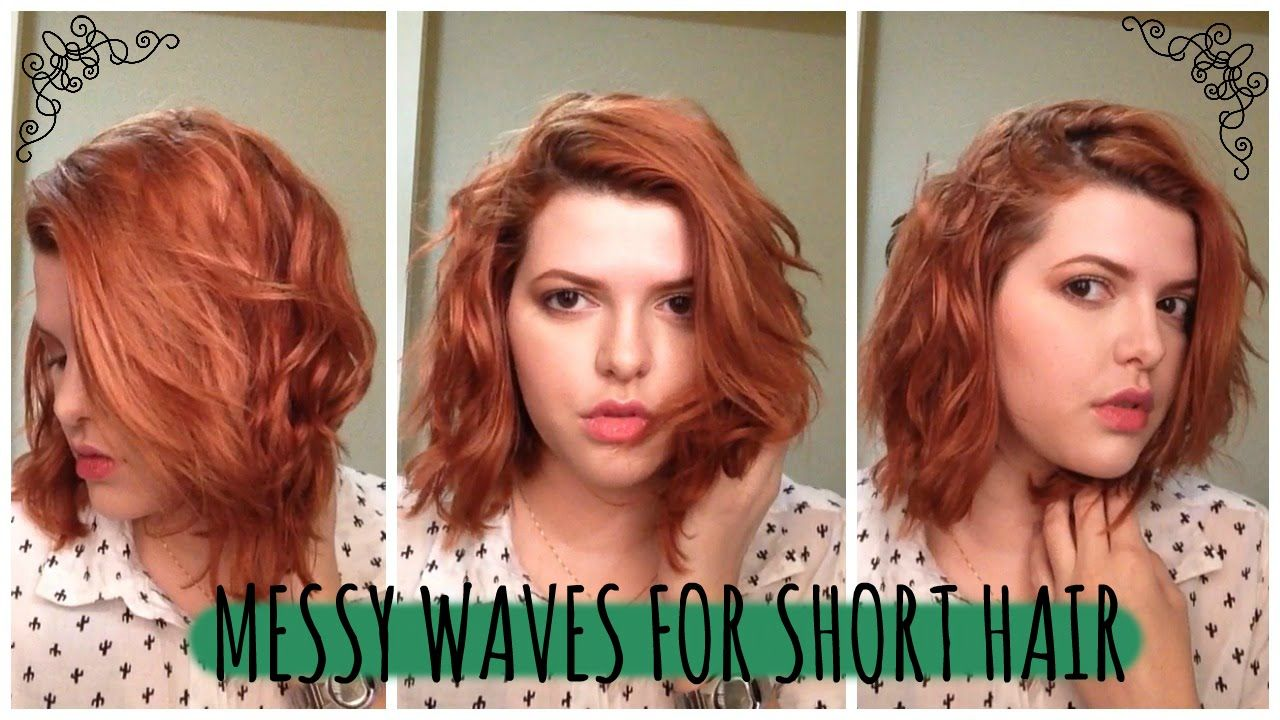 Hairstyles For Short Hair No Heat Hairstyles Hairstylesforshorthair Short How To Curl Short Hair Short Hair Waves Messy Waves Short Hair