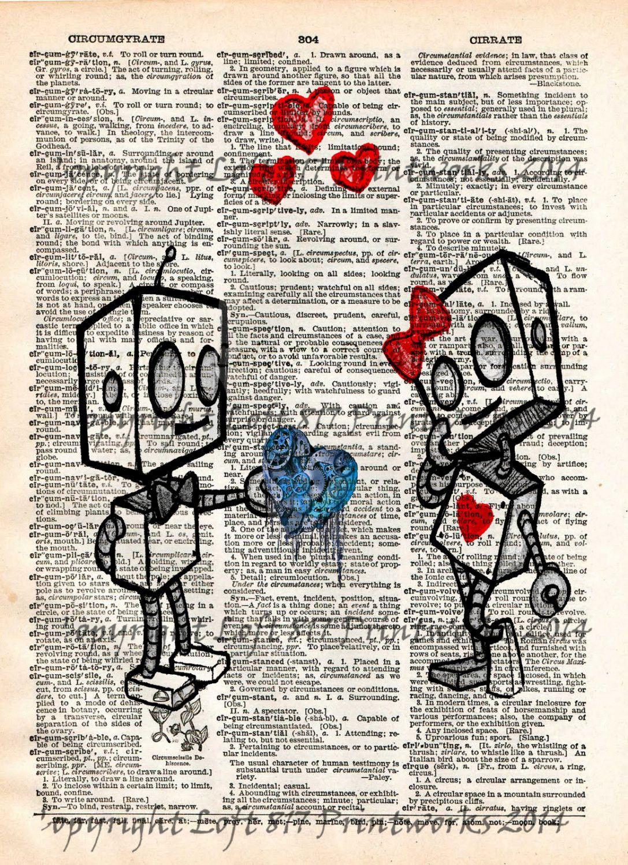 1e4ee224edb27 Robot love, cute robot art print, vintage dictionary page art   Art ...