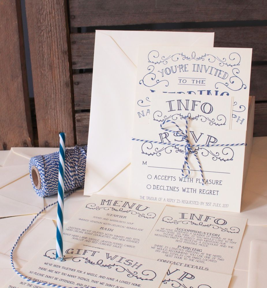 Vintage shabby chic personalised wedding invitations day evening