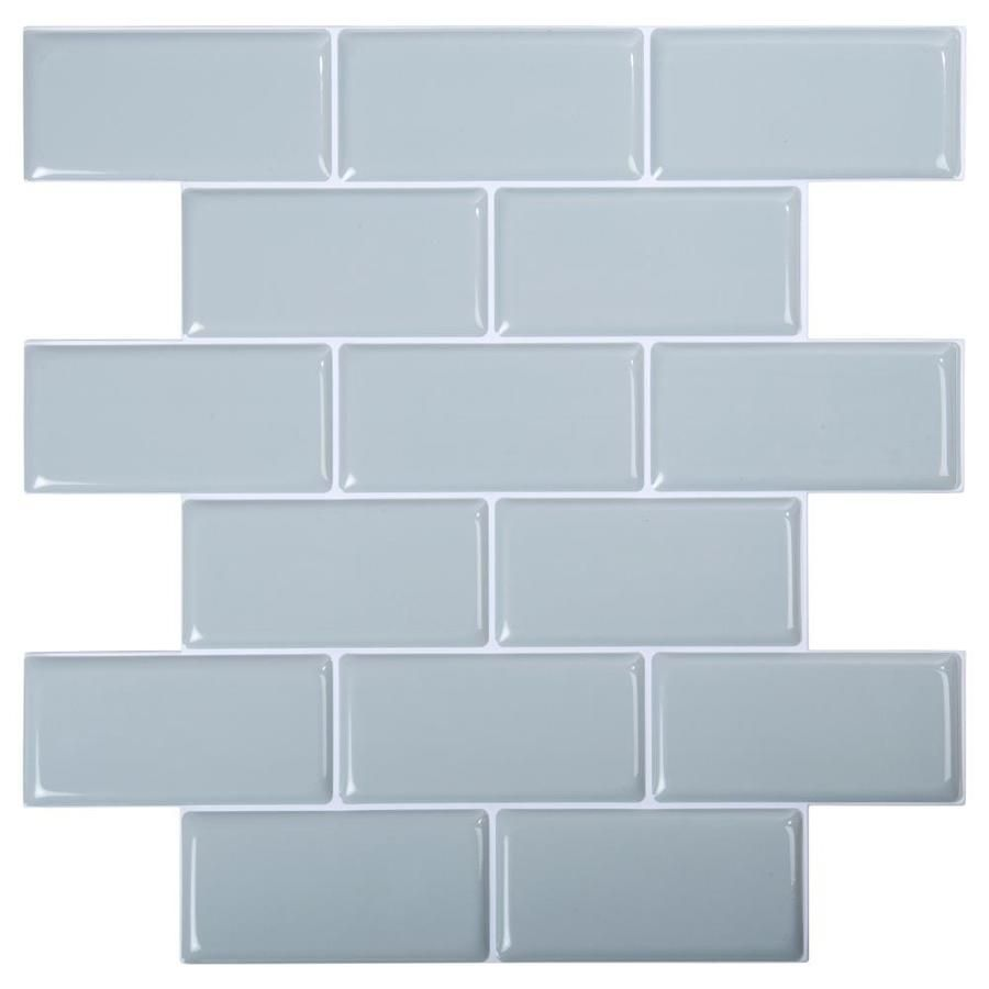 Truu Design Truu Design Self Adhesive Peel And Stick 3d Subway Wall Tiles 11 8 In X 11 8 In Light Blue 6 Lowes Com Stick On Wall Tiles Self Adhesive Backsplash Tiles Wall Tiles