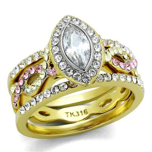 Stainless Steel Ion Two Tone Gold Silver Clear Marquise CZ Wedding Ring Sets Size