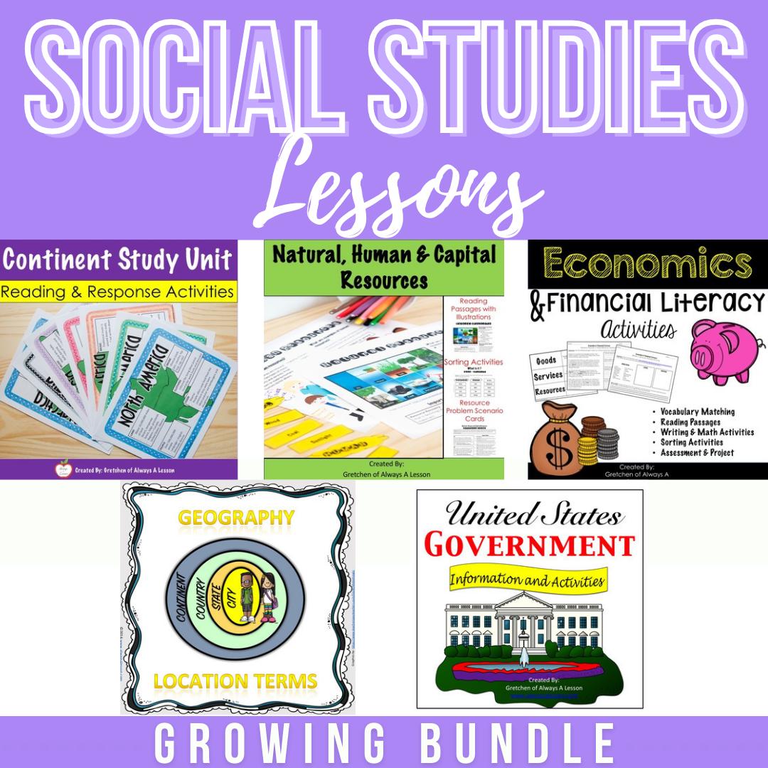 Social Studies Lessons Growing Bundle Social Studies Lesson Social Studies Third Grade Social Studies