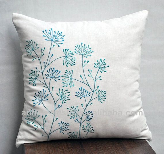 White Linen Embroidery Tree Pattern Cushion Cover Photo