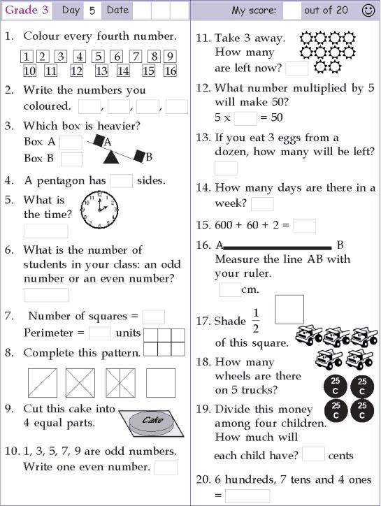 mental math grade 3 day 5 mental math mental maths worksheets math practice worksheets. Black Bedroom Furniture Sets. Home Design Ideas