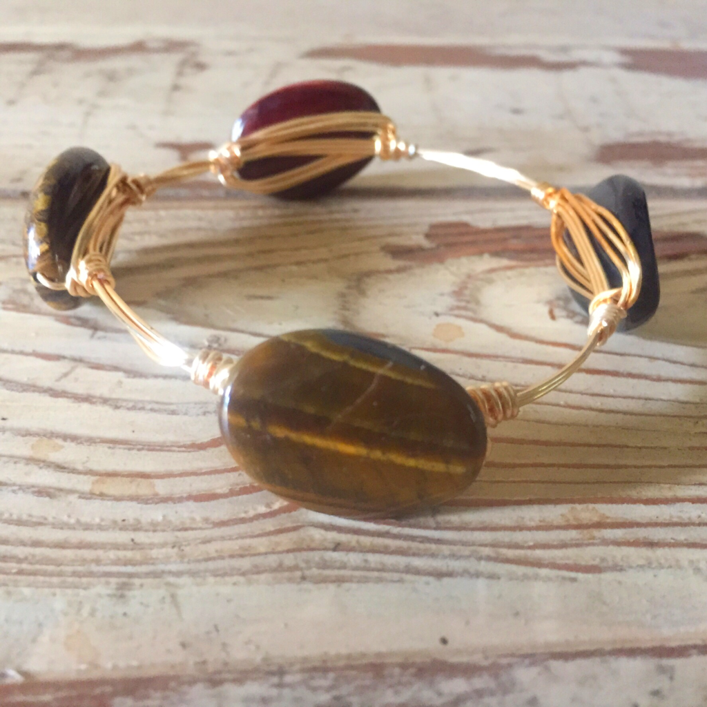 Pearl bangle bracelet Bourbon and Bowties inspired