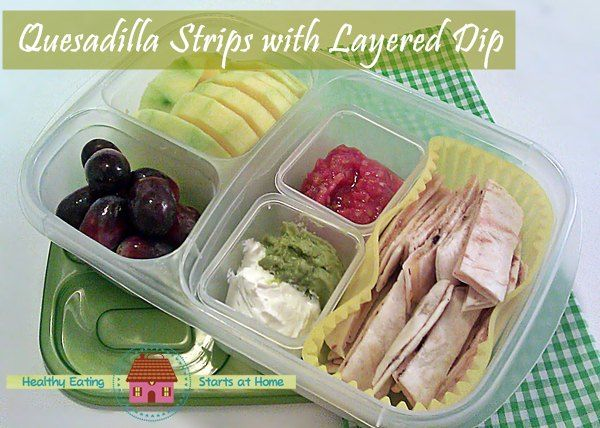 Quesadilla strips with layered dip in our lunch box. YUMMY from Healthy Eating Starts at Home