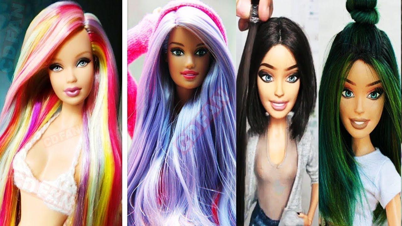 Barbie Hair Colour Transformations Easy Barbie Doll Hair Style Tutoria Barbie Hair Hair Styles Doll Hair