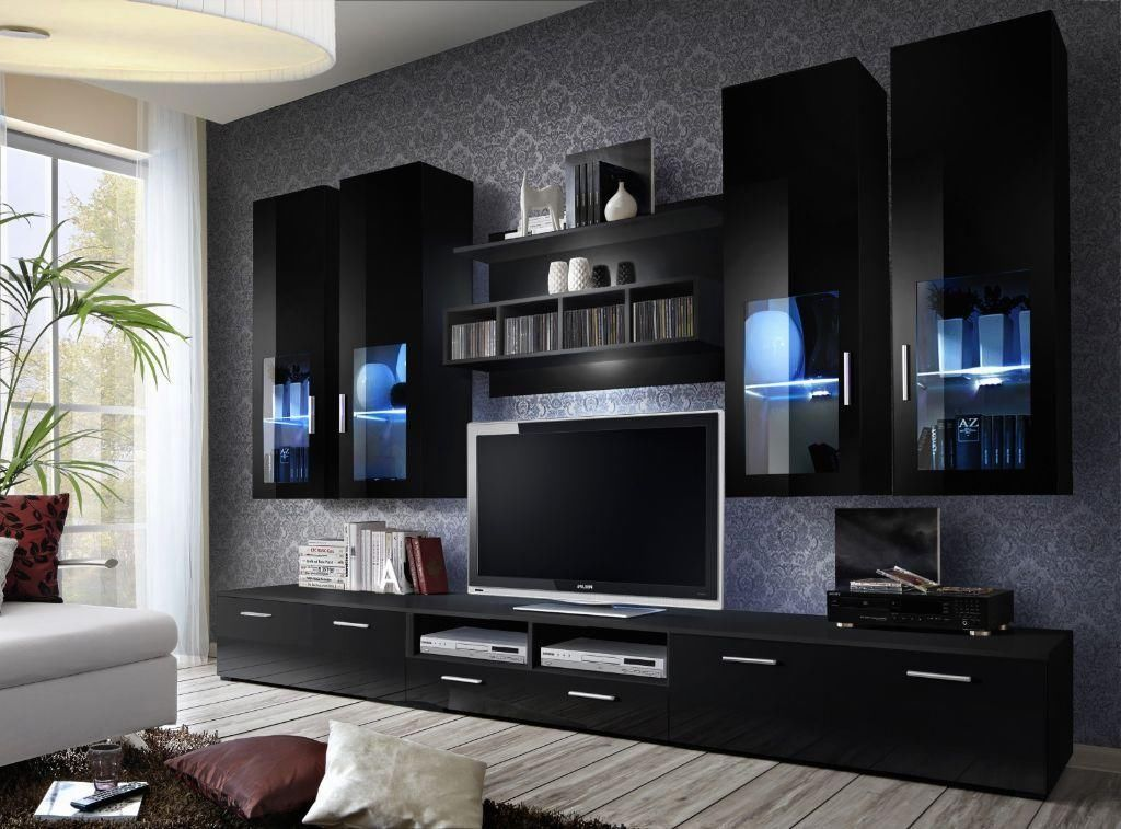 High gloss tv wall unit tv cabinets tv stand living for Wall units for living room