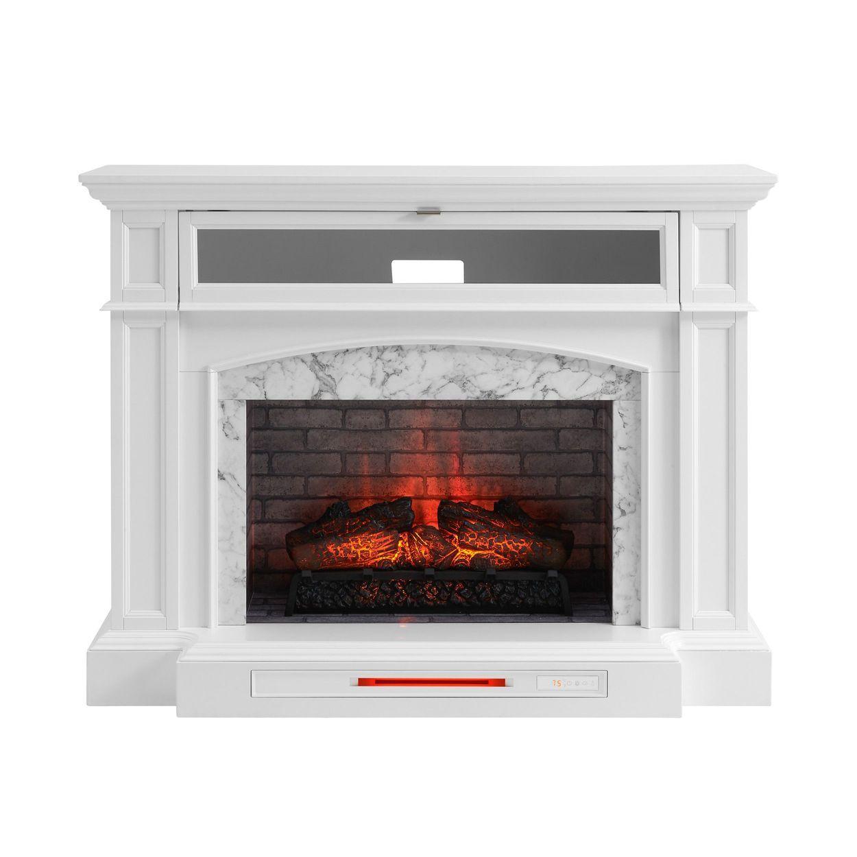 Allen Roth 52 5 In W White Infrared Quartz Electric Fireplace Lowes Com In 2020 Electric Fireplace Fireplace Allen Roth