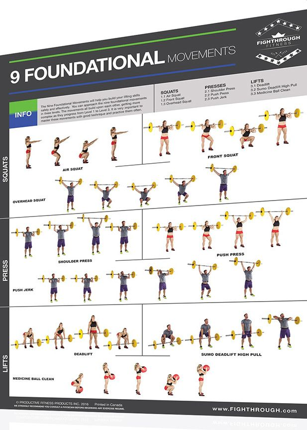 FightThrough Fitness Laminated Wall Chart Workout Poster – Olympic ...