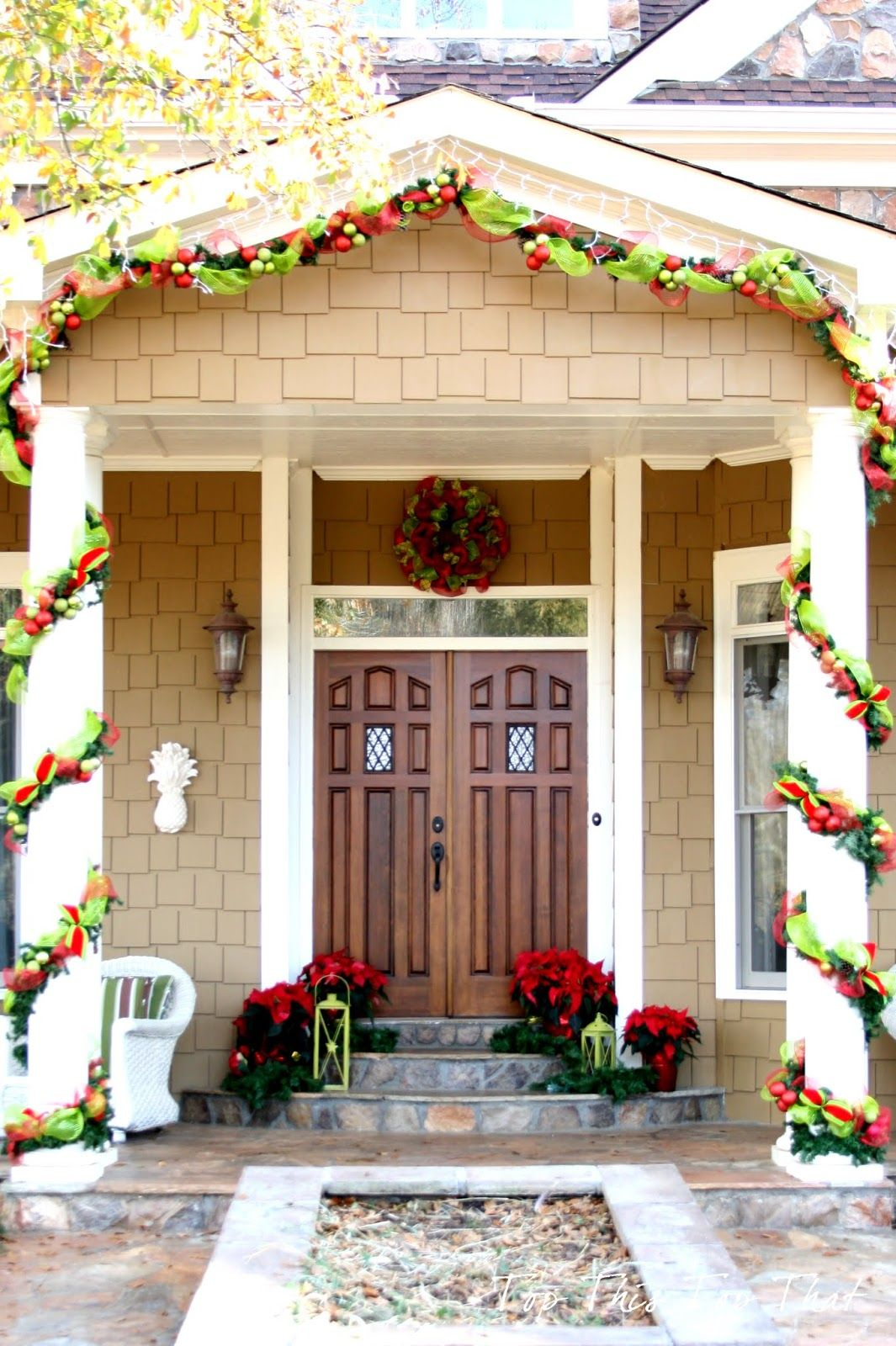 Decoration Fl Poinsettia Also Lanterns For Scenic Christmas Porch Feat Decorative Garland On Pillars Admirable
