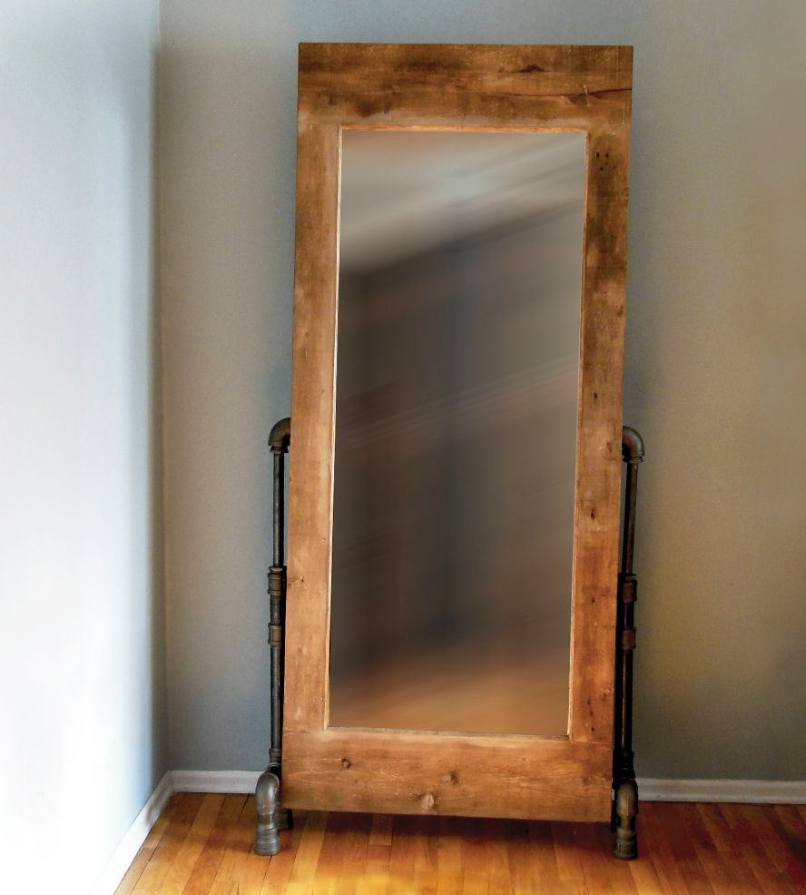 Pipe Legs & Wood Frame Mirror | Farming, Gray and Vintage