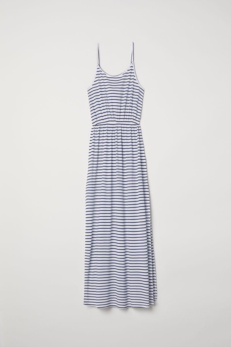 Maxikleid | Weiß/Blau gestreift | DAMEN | H&M DE | Kleider ...