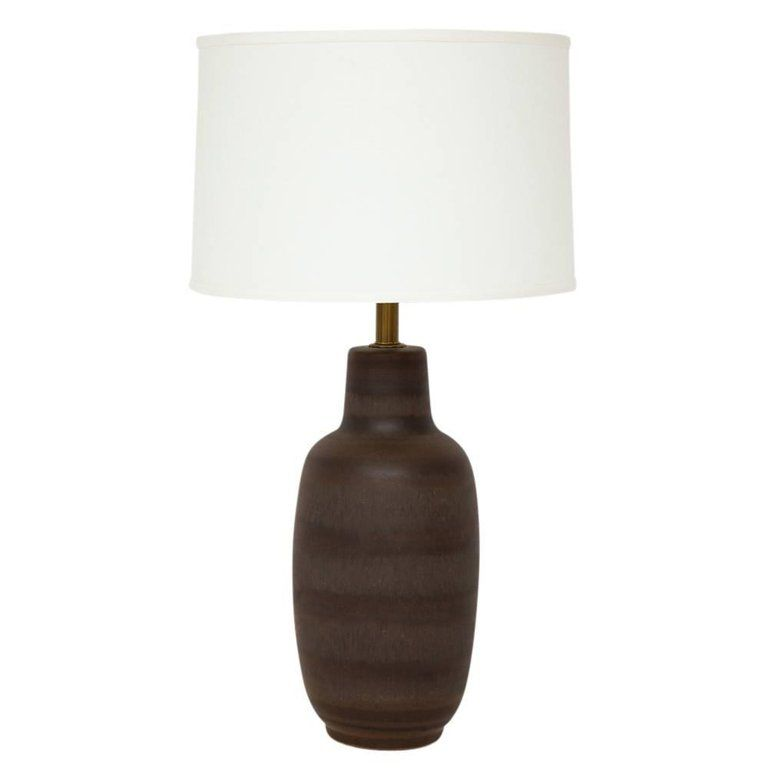Design Technics Lamp Pottery Earth Tones And Brown Stripes Lamp Pottery Lamp Ceramic Table Lamps
