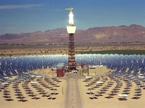 solar two tower and heliostats in daggett barstow california