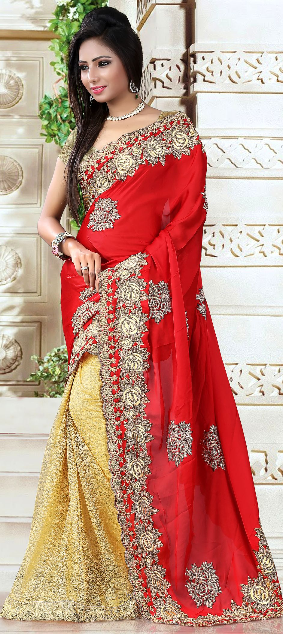 169821: Gold, Red and Maroon color family Embroidered Sarees, Party ...