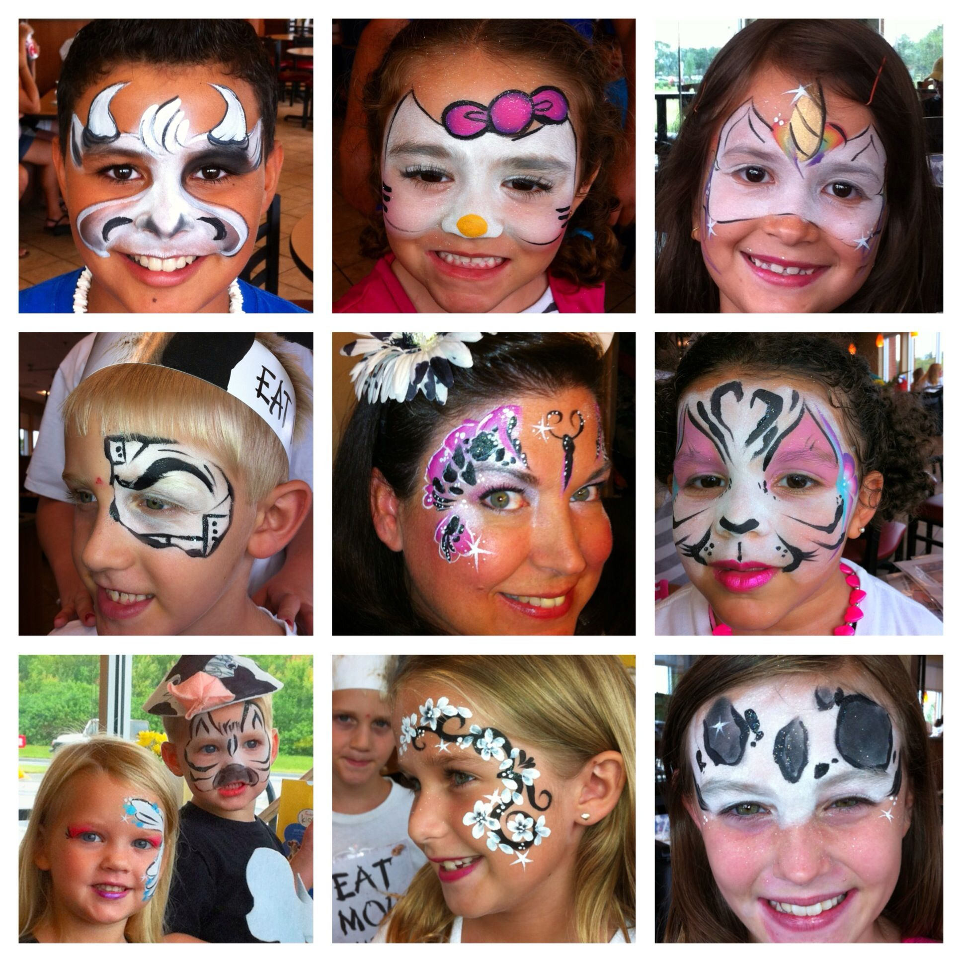 Painting at Lee Vista Chick-fil-A in Orlando, Florida Cow Appreciation Day July 2013. I use a lot of white Star Blends, my magpie Tag one stroke, Dfx white and Paradise black.  fb: Amazing Face by Amanda Nelson  Face paint Chick-fil-A Cow Bull Zebra