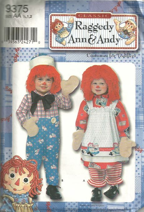 Simplicity 9375 Boys and Girls Raggedy Ann and Andy Costume Pattern ...