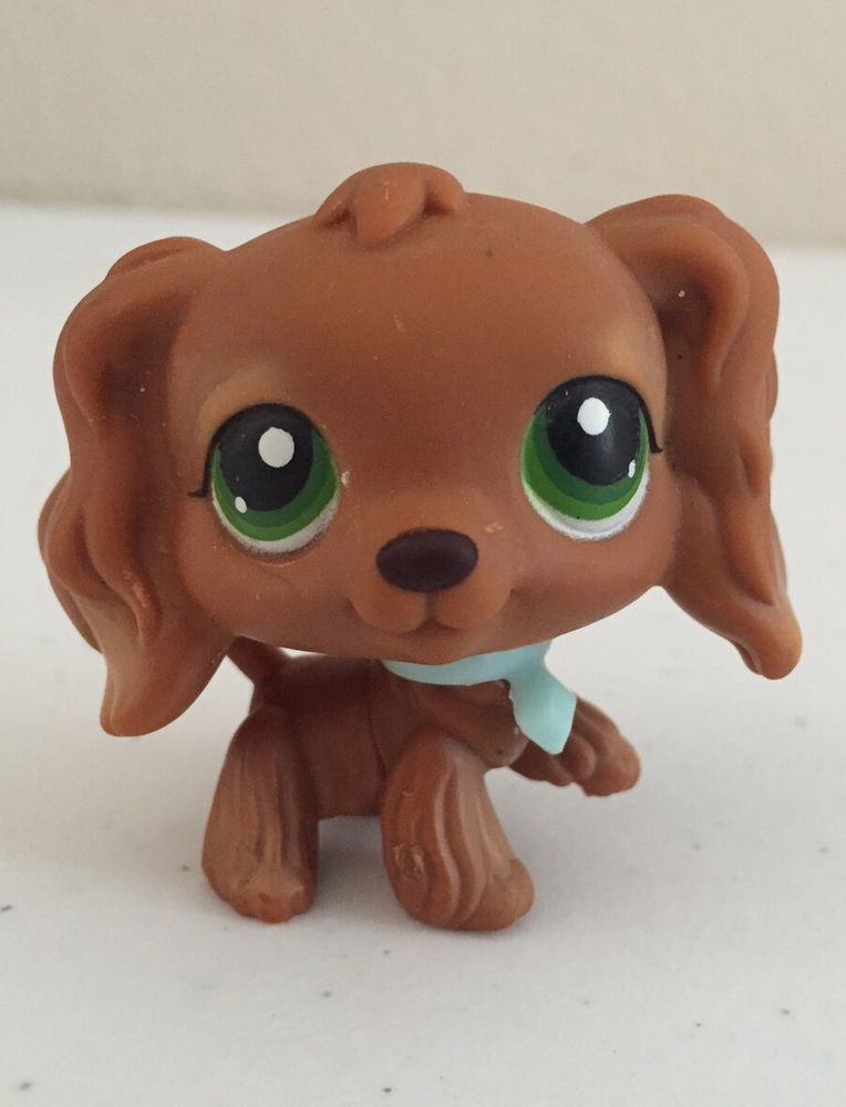 Littlest Pet Shop #252 Figure Green Eyes Cocker Spaniel Dog Accessories LPS Toys