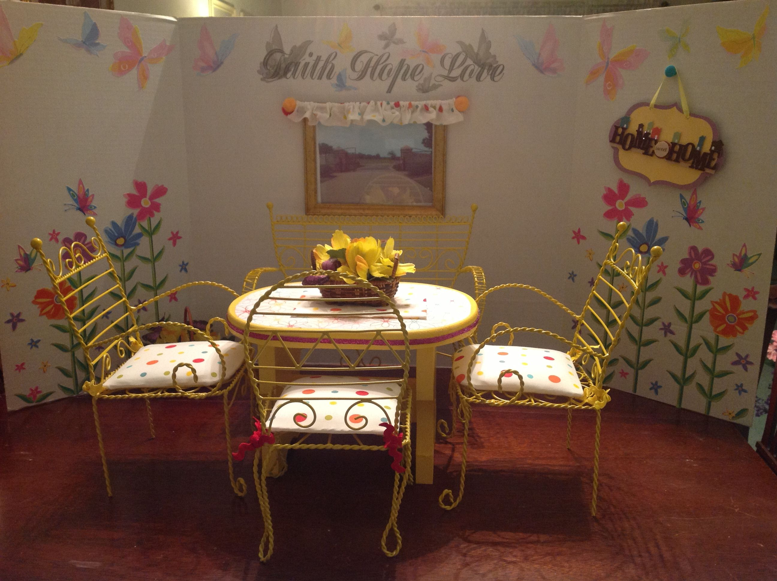 American girl doll dining room project board decorated