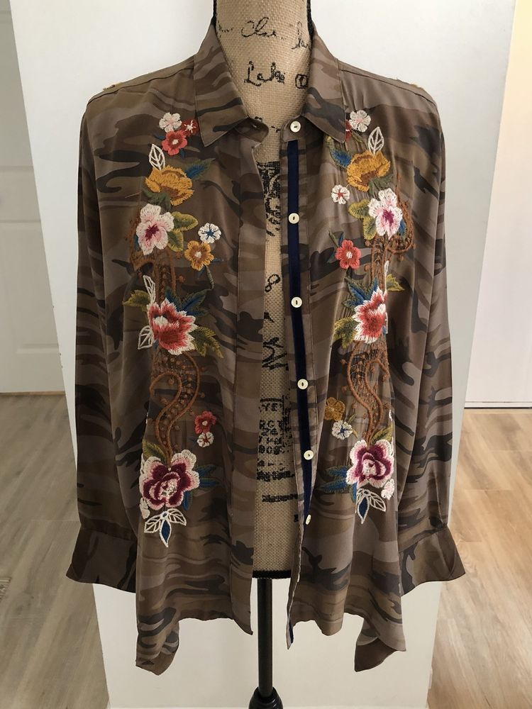 b722fe59d3d6f Jonny Was Camo Long Sleeves Button Down Shirt.  fashion  clothing  shoes   accessories  womensclothing  tops (ebay link)