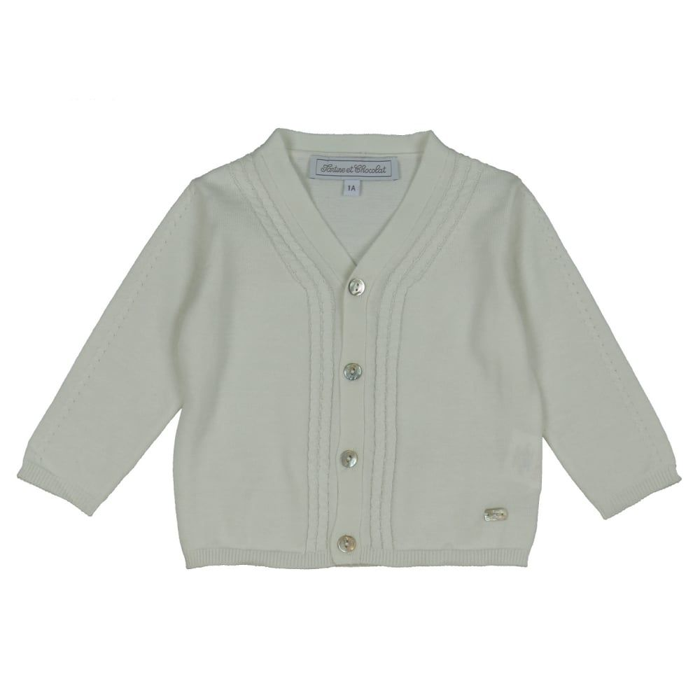 Baby Girl's White Cardigan with Mother of Pearl Button and ...