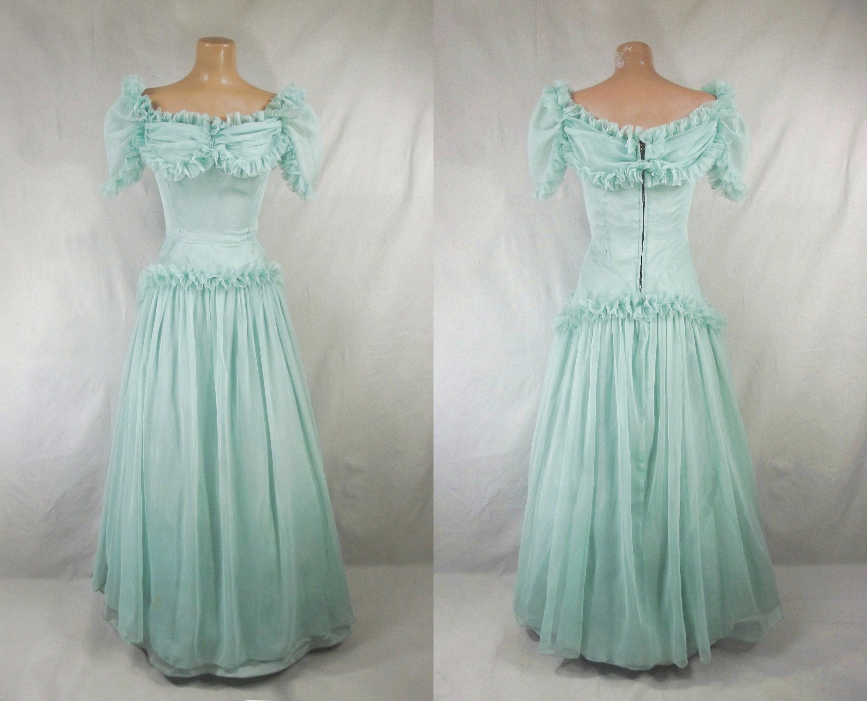 Vintage 40s Sea Glass Mesh Formal Cotillion Gown 1940s Cupcake Prom Dress Off Shoulder Sweetheart Neckline Vintage Retro Clothing Ball Gowns Prom Dresses [ 2426 x 3000 Pixel ]