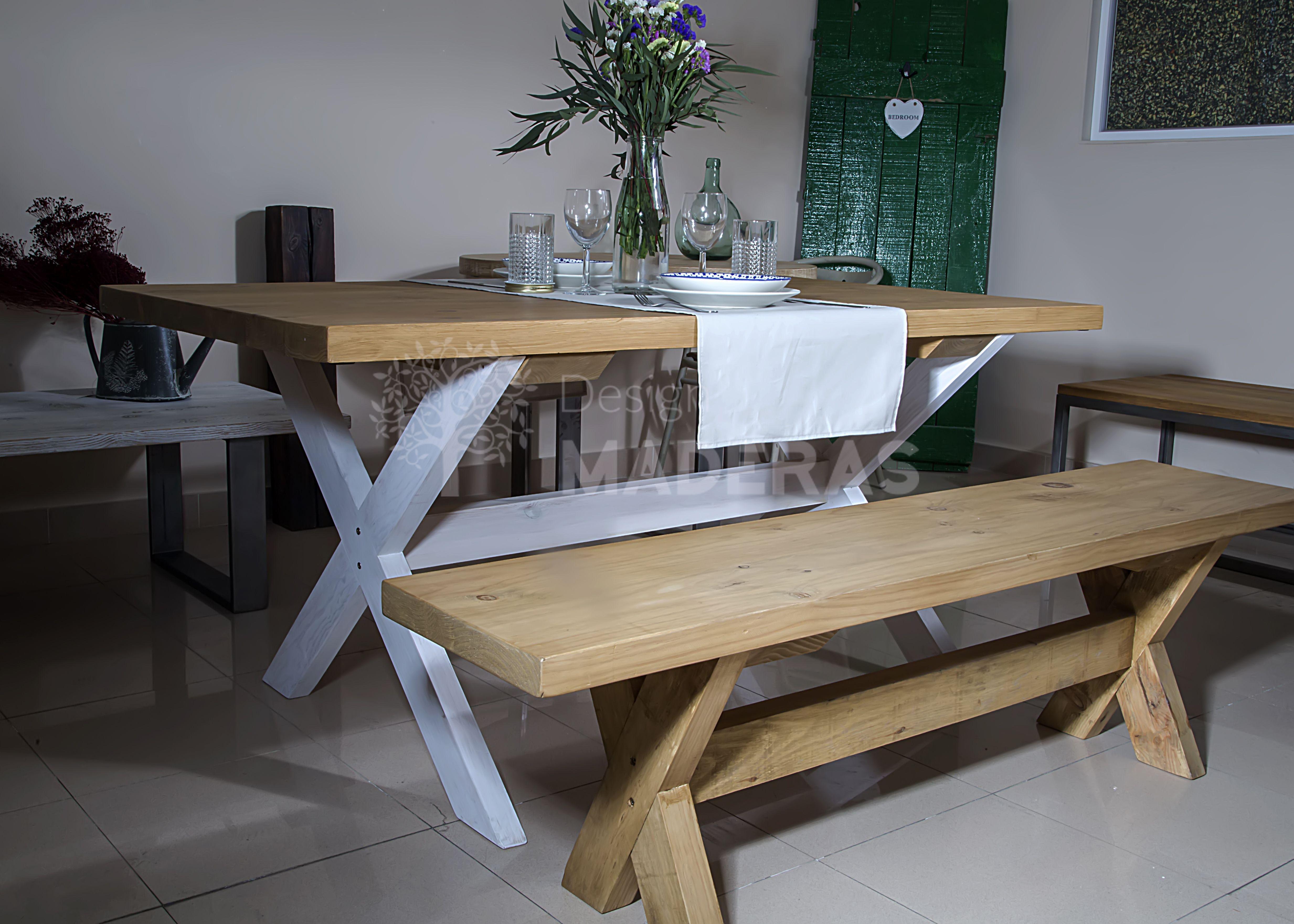 Mesa y banco modelos santorini de madera maciza natural for Banco para mesa de comedor