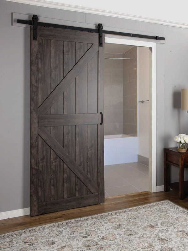 Paneled Manufactured Wood Finish Continental Barn Door With Installation Hardware Kit Wood Doors Interior Barn Style Doors Barn Doors Sliding