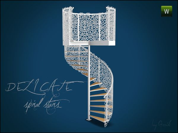 delicate spiral stairs by gosik sims 3 downloads cc caboodle sims sims 4 sims 3 und sims. Black Bedroom Furniture Sets. Home Design Ideas