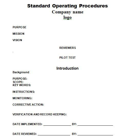 Sop Templates   Business    Standard Operating