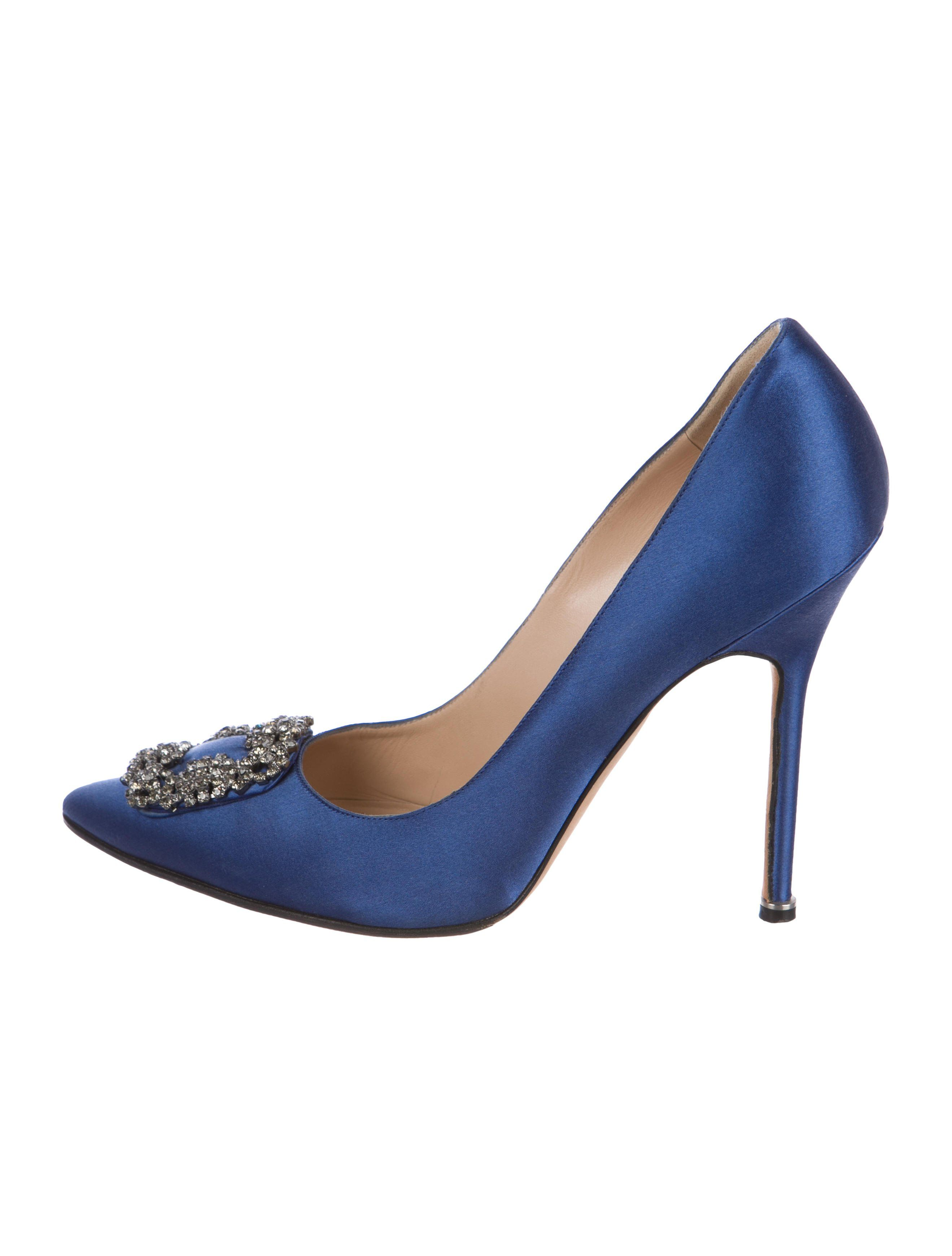 2072107dbde8e Blue satin Manolo Blahnik Hangisi pointed-toe pumps with crystal  embellishment at vamps and covered