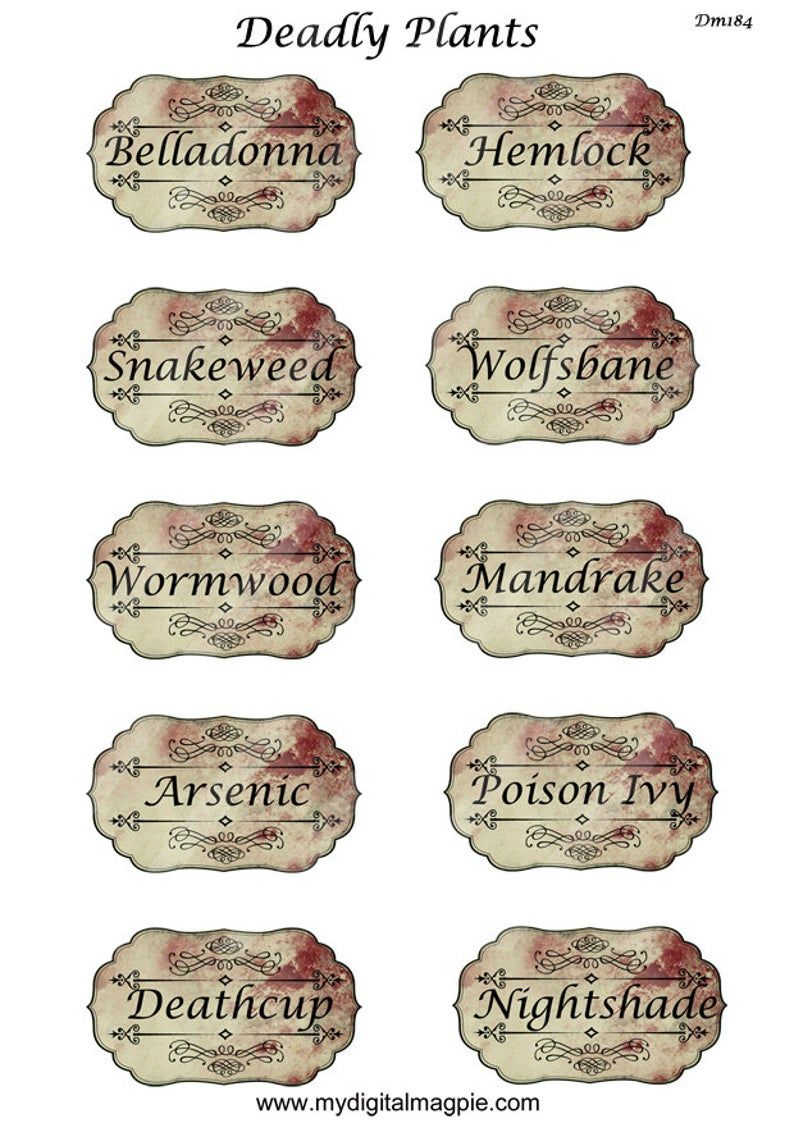 digital collage sheet Halloween apothecary labels deadly plants potion poison antique grunge vintage printable for jars bottles scrapbook