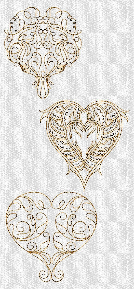 INSTANT DOWNLOAD Filigree Valentines Hearts by embroiderygirl ...