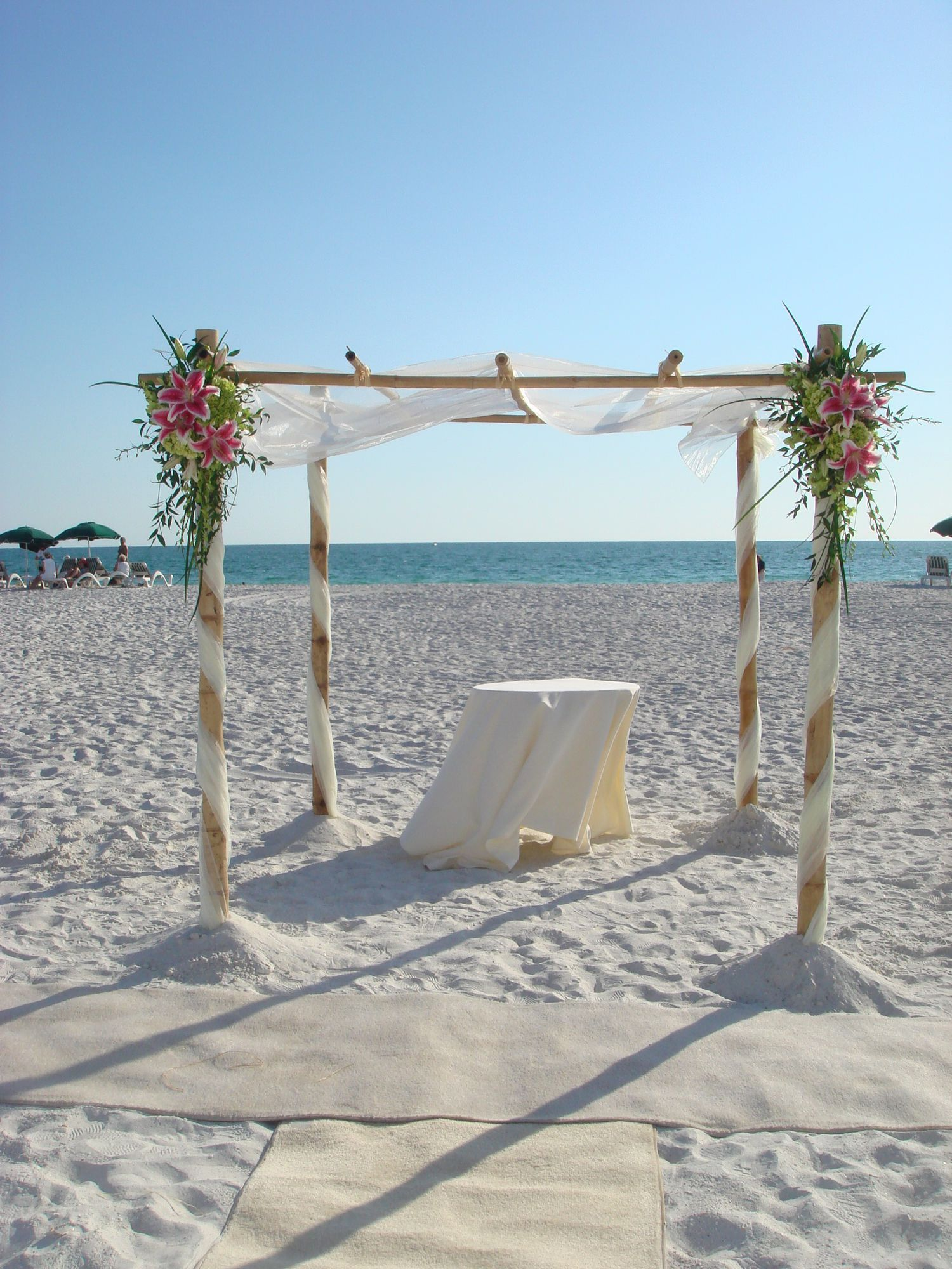 bamboo canopy with ceremony table full bamboo canopy with floral clusters and