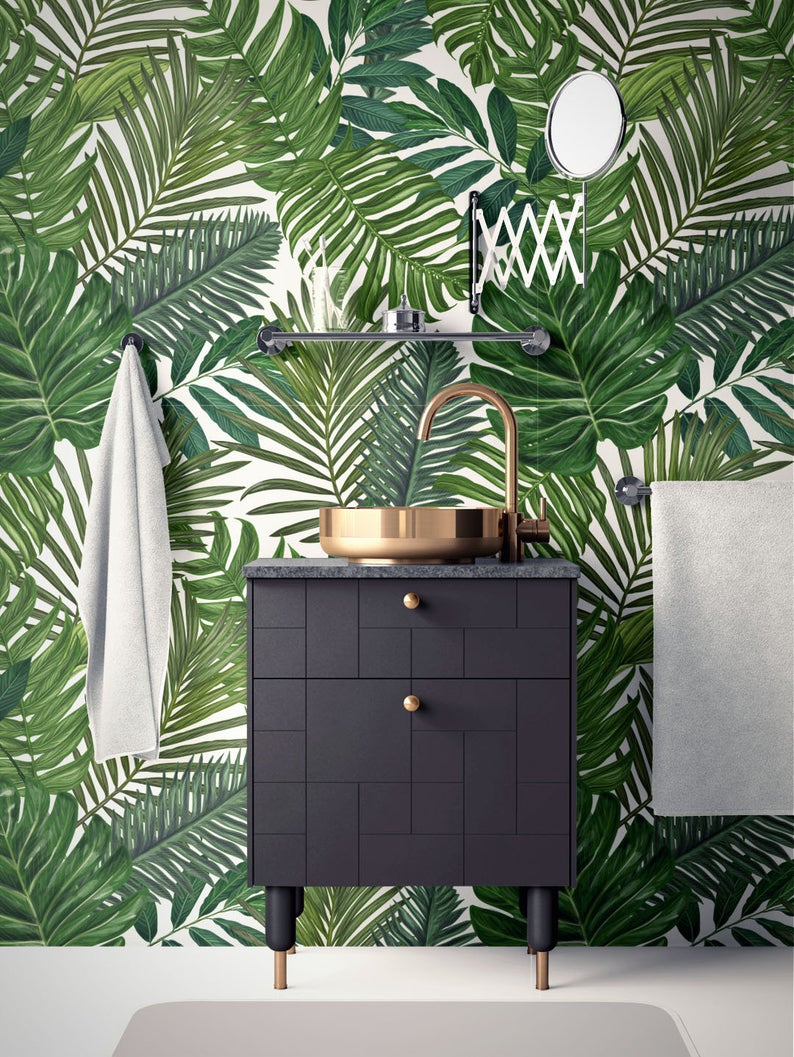 Tropical Removable Wallpaper Palm Leaves Wallpaper Modern Etsy Palm Leaf Wallpaper Leaf Wallpaper Removable Wallpaper