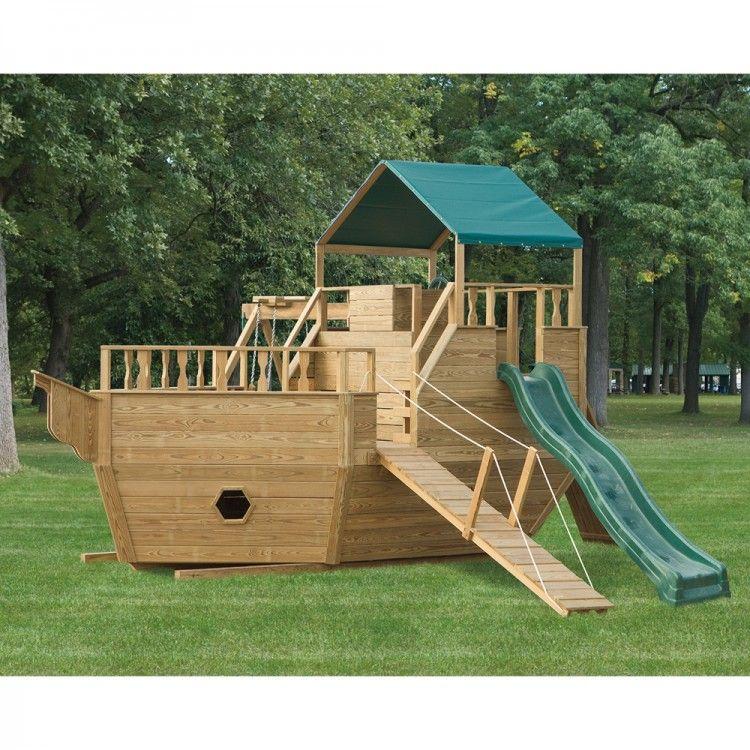 Amish Made 8x14 Ft Wooden Pirate Ship Playground Set Playground
