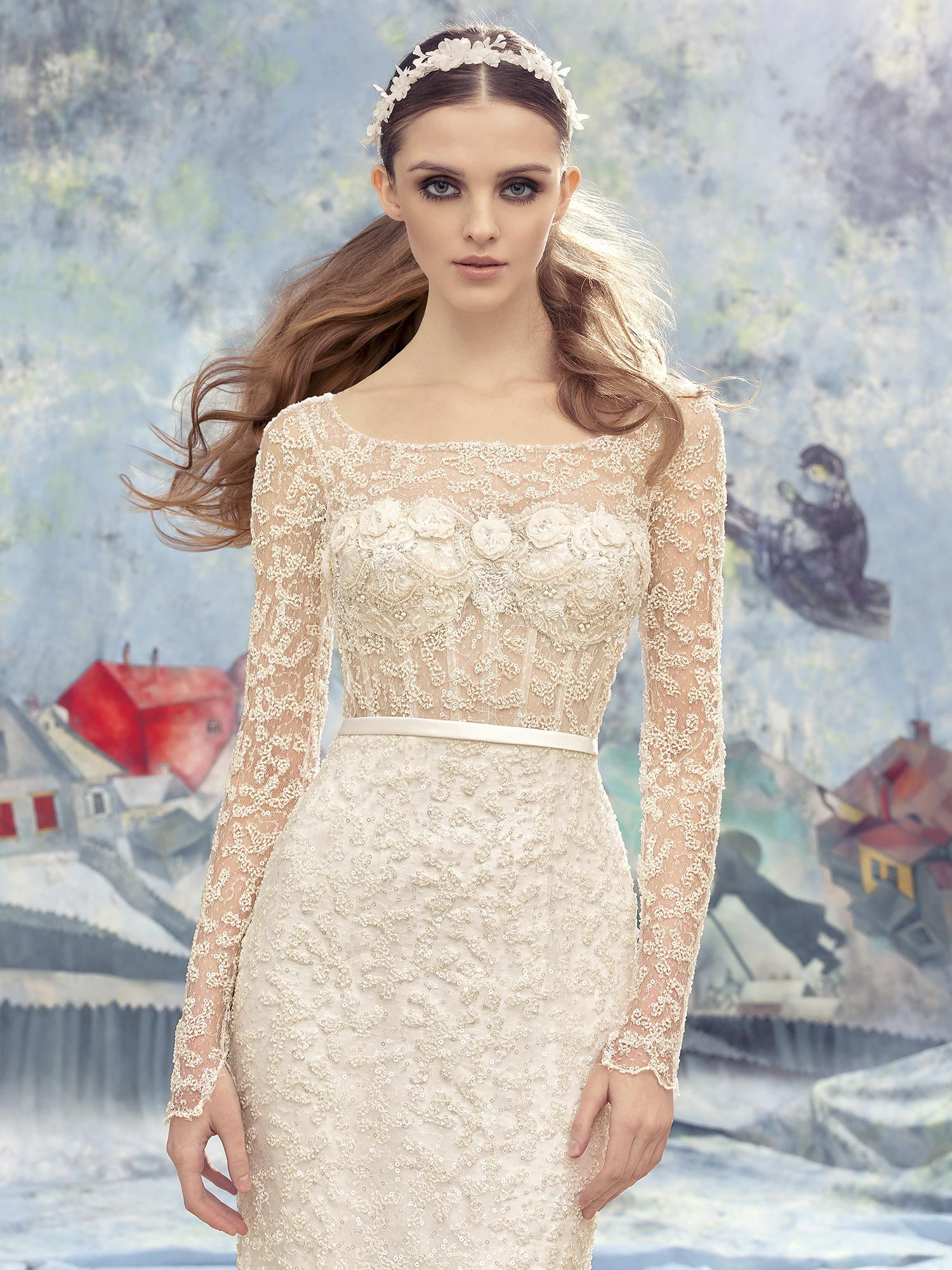 Papilio fitted lace wedding gown with sheer lace bodice in