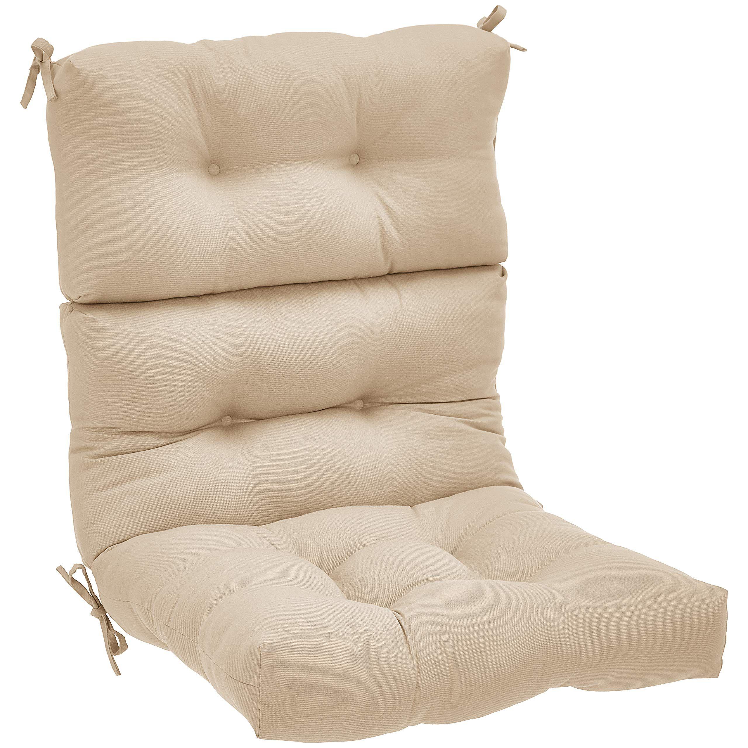 Amazonbasics Tufted Outdoor High Back Patio Chair Cushion Khaki