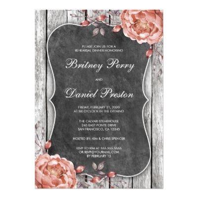 Vintage Floral Chalkboard Peonies Bridal Shower Card  Couples