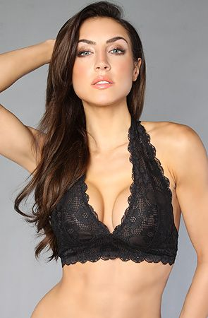 0cc69179c78f3 Free People The Galloon Lace Halter Bra in Black fully lined  no underwire  or padding  adjustable back strap  By Free People (Style    F763O915-0010-BLK) ...