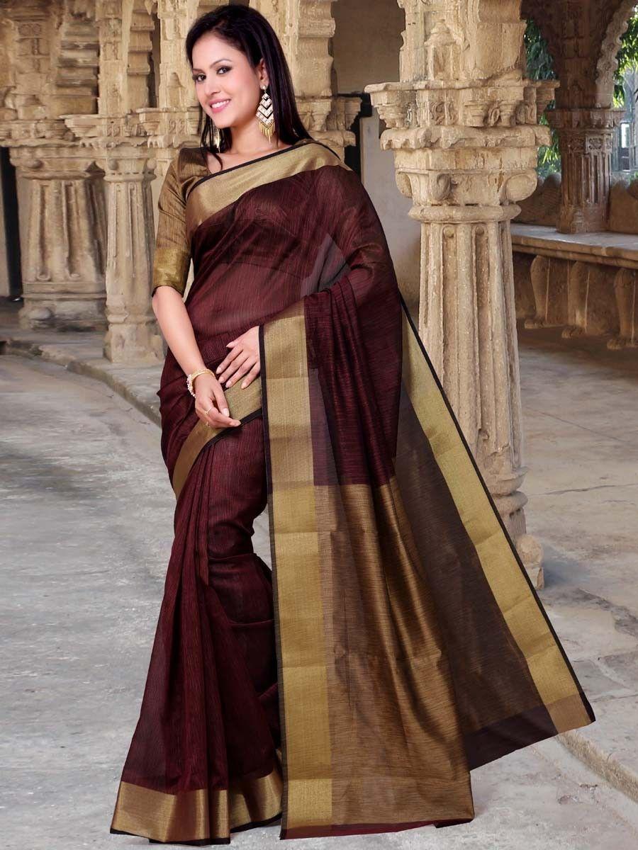 959d27ca73 Commanding maroon color cotton super net Saree. Item Code : SWG1325  www.bharatplaza.com/new-arrivals/sarees.html
