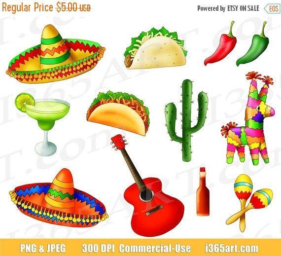 Buy 3 Get 1 Free Mexican Fiesta Clipart Cinco De Mayo Taco Etsy Mexican Fiesta Clip Art Fiesta