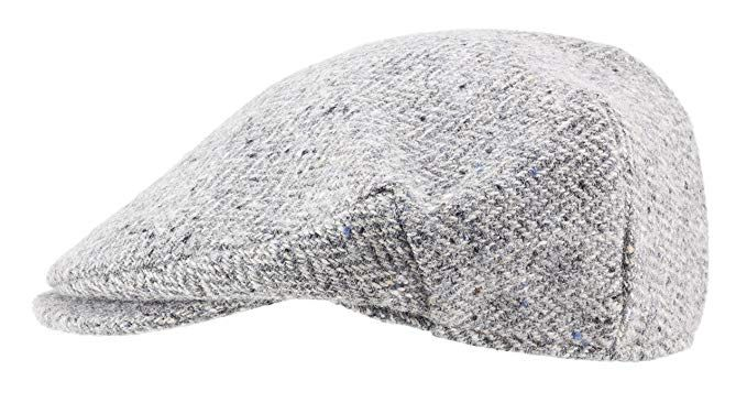 100% Handmade Handwoven Tweed.Irish Flat Cap.Silver Grey Herringbone.made  by Hanna Hats Review 768b827d11b9