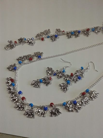 Elephant Charm Jewellery Collection.  Bracelet £9.99 Necklace £13.99 Earrings (with 4 elephant charms) £7.99
