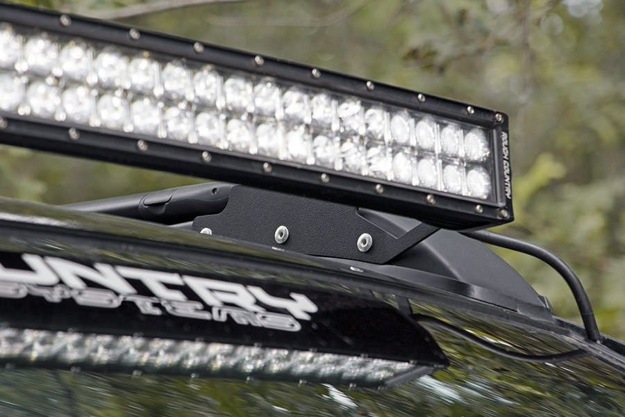 Roof rack 40in curved led light bar mounting brackets 70543 bring unbridled led lighting power to your toyota tacoma with rough countrys roof rack led mounting system this clever mounting solution easily attaches mozeypictures Gallery