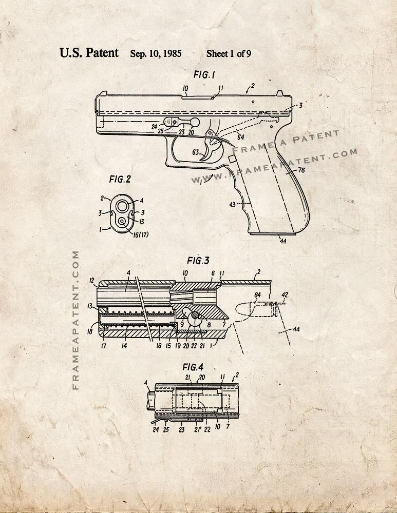 Glock  Gun Patent Print  Old Look X  Guns Weapons And Archery