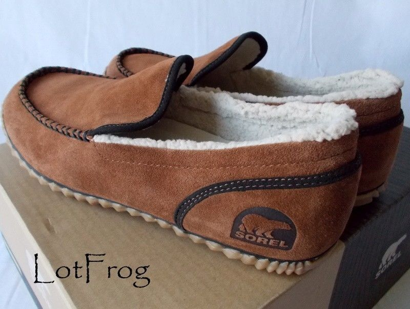 15fbeedadf0 NWT SOREL Dude Moc SLIPPER Grizzly Bear Brown Suede Moccasin Mens Shoe Size  12