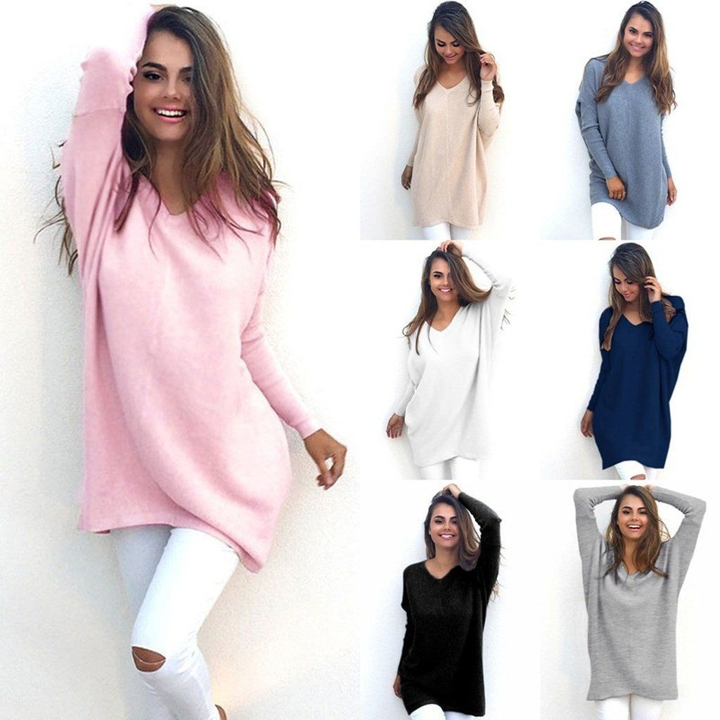 62a1c88152 Fashion Autumn Winter Dress Womens V-Neck Loose Knitted Oversized Baggy  Sweater Jumper Tops Dress Outwear Plus Size S-XL Vestido